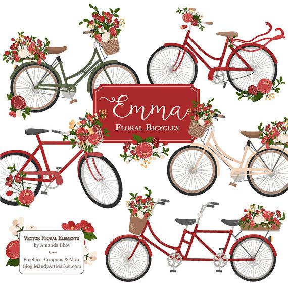 Bike clipart christmas Bicycle christmas Floral Emma tandem
