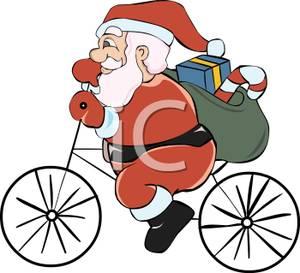 Bike clipart christmas Santa Bicycle of Gifts Riding