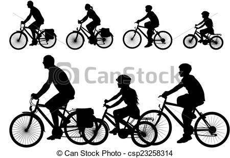 Bike clipart family cycling Silhouette bike of vector Clip