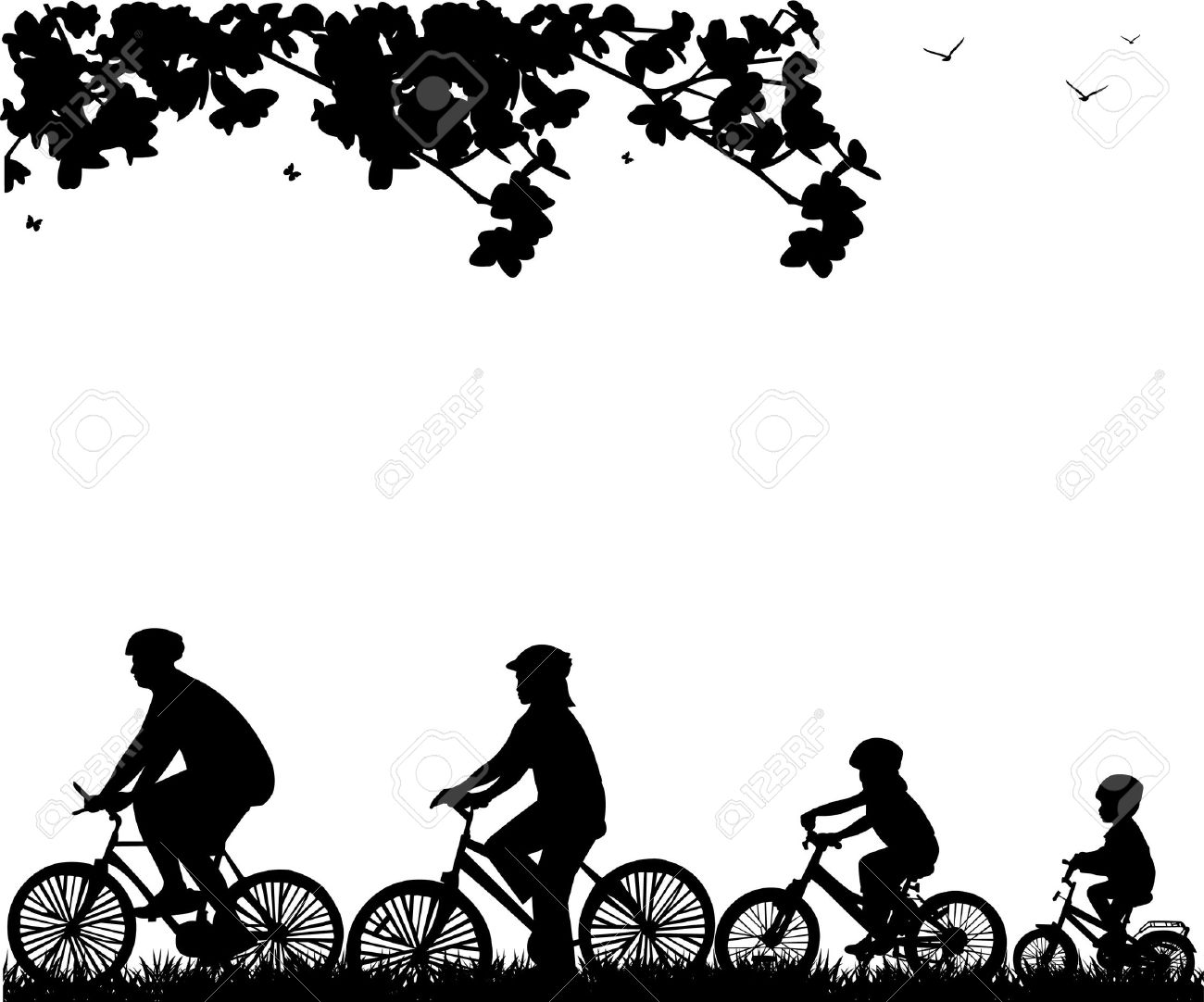 Bike clipart family cycling Riding Bicycle bikes Cliparts Cliparts