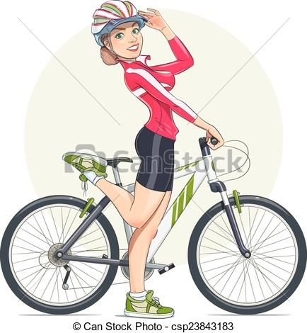 Bicycle clipart female cyclist With Vector with bike Beautiful