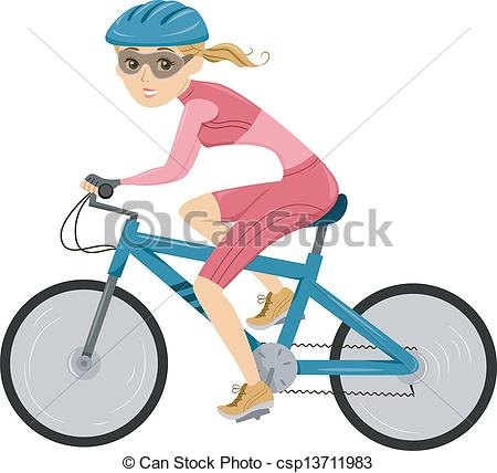 Bicycle clipart female cyclist  for csp13711983 Girl for