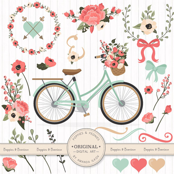 Vintage Flower clipart colored Wedding Bicycle Coral Clipart Clipart
