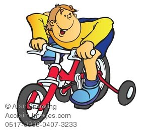 Bicycle clipart training wheel Training a of of Boy