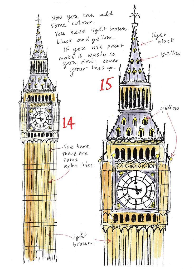 Drawn big ben coloring #13