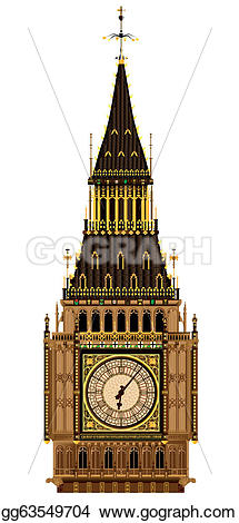 Big Ben clipart drawn Vector Clipart Art A roof