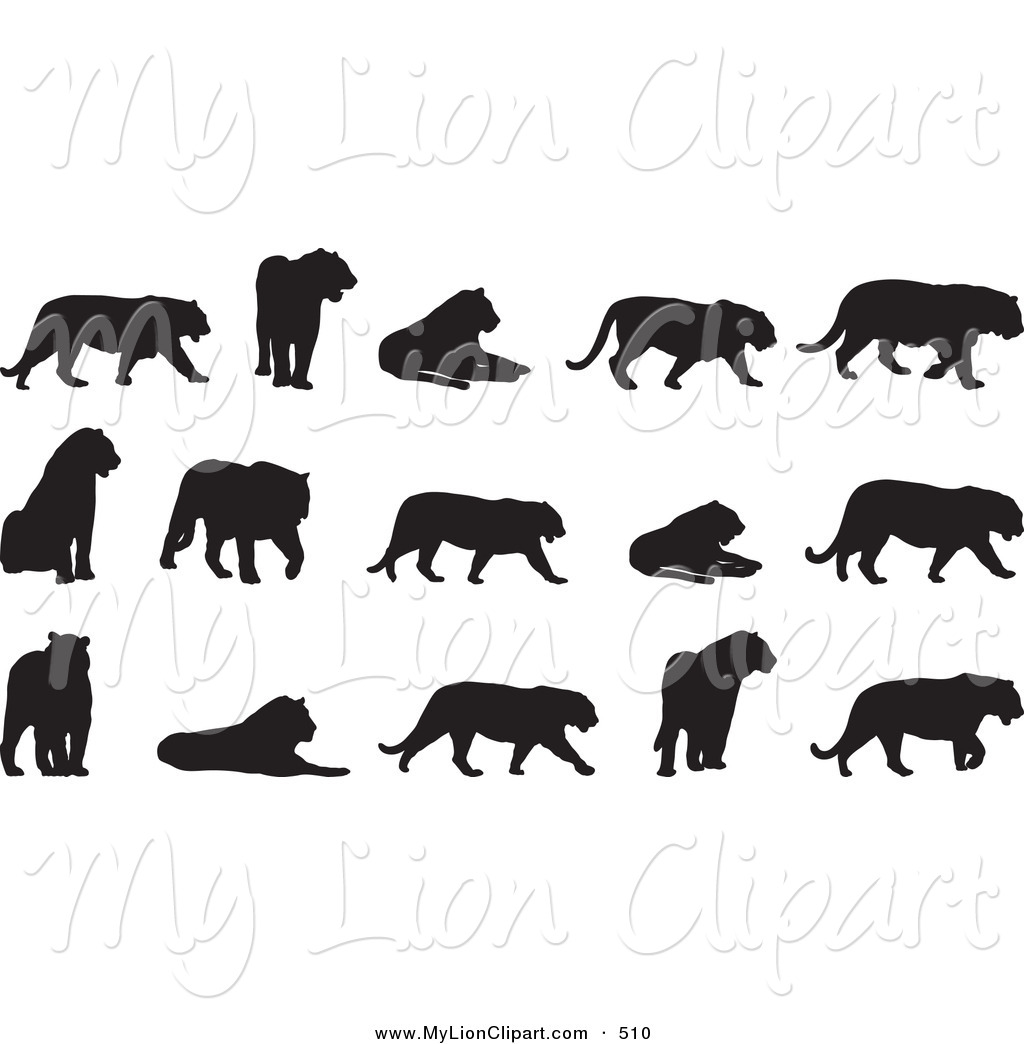 Big Cat clipart black and white #510 of Clipart Big Digital