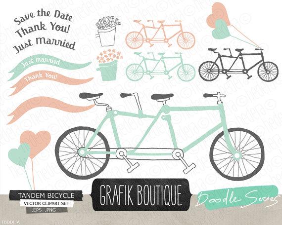 Bike clipart drawn Wedding vector clip save Tandem
