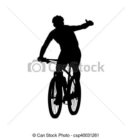 Bike clipart front view Front Mountain silhouette vector up