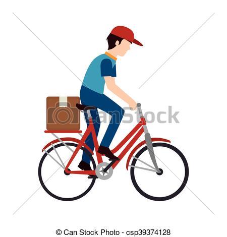 Bike clipart hat Shipping isolate transport bike man