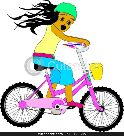 Biker clipart riding bicycle Riding girl stock Bike Riding
