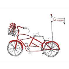 Drawn bike minimalist  for the date Wedding