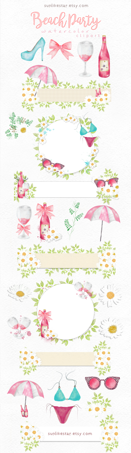 Bikini clipart beach sunglass Digital / Time Digital Watercolor