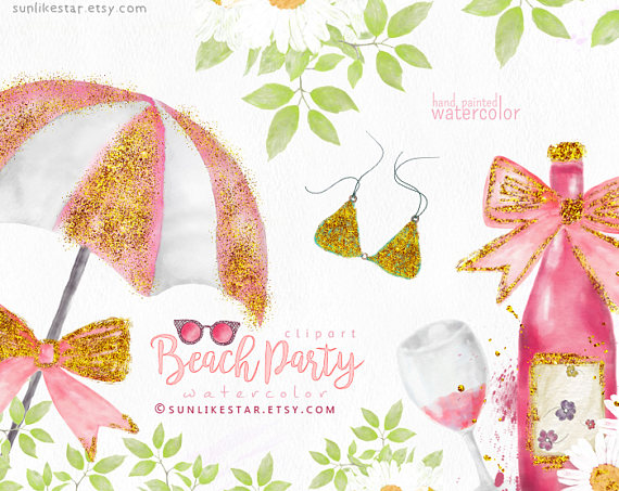 Bikini clipart beach sunglass Watercolor Summer Glitter Clipart: from
