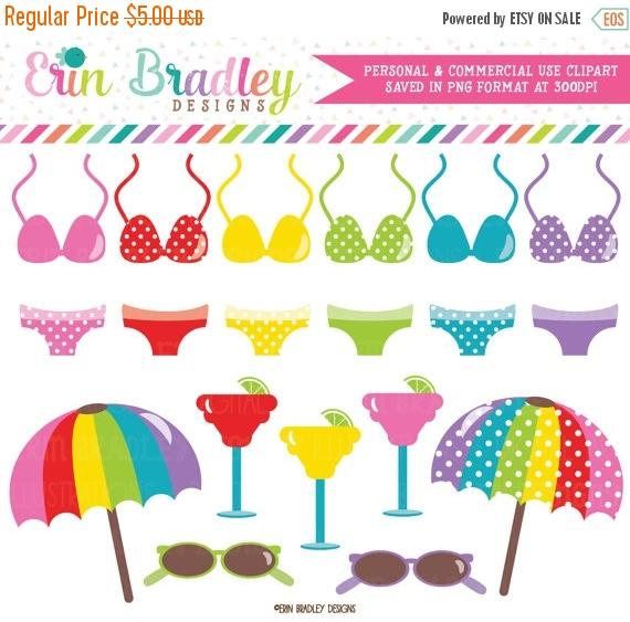 Bikini clipart beach sunglass ErinBradleyDesigns Etsy OFF Umbrella Drinks