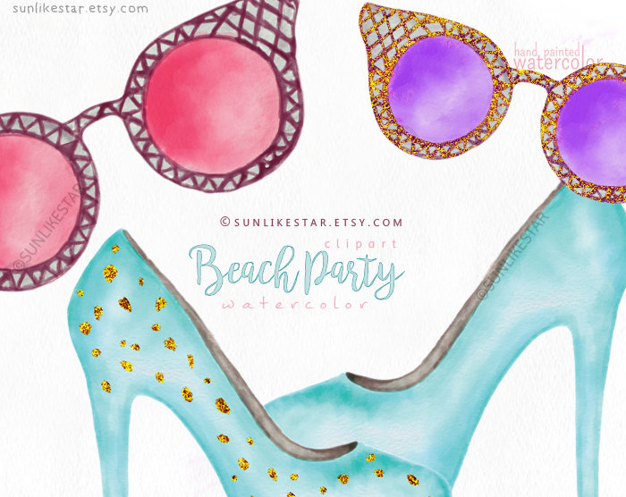 Bikini clipart beach sunglass Is digital a Watercolor Glitter