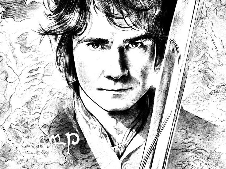 Bilbo Baggins clipart black and white Hobbit book images coloring on