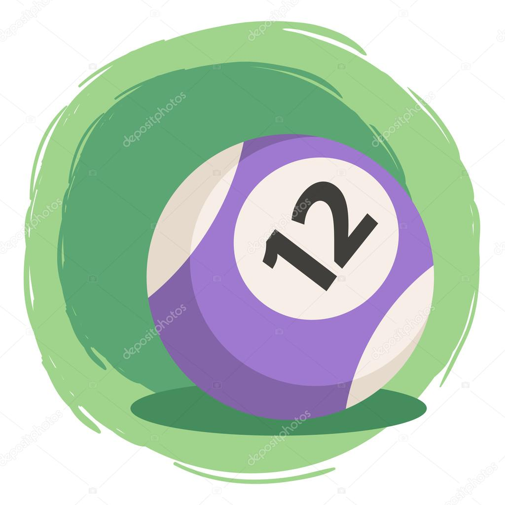 Billiard Ball clipart color number Green striped Vector purple —