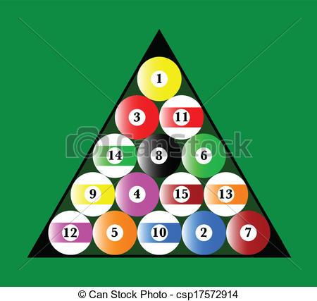 Billiard Ball clipart rack Pool csp17572914 Vector balls of