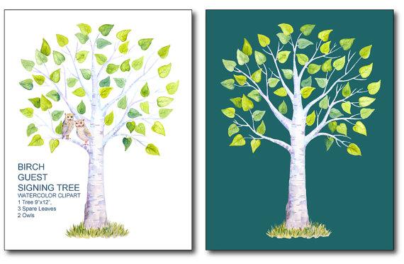 Birch clipart Guest Watercolor Wedding birch 9