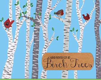 Birch clipart border Art clip art painted art