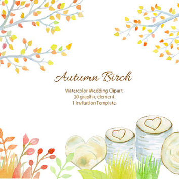 Birch clipart ash tree Fall Clipart Wedding instant clipart