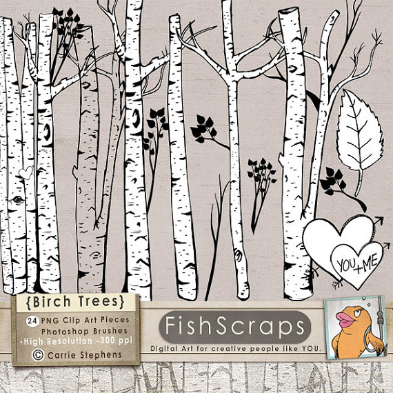 Birch clipart ash tree Winter Outlines Brush Birch +