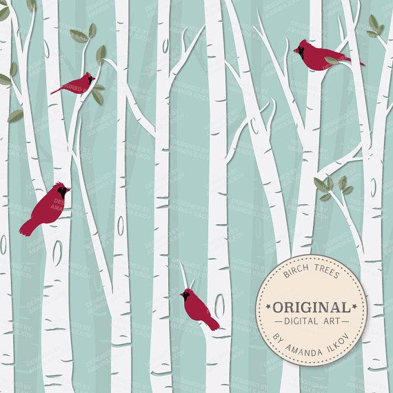 Birch clipart woodland tree Clipart Birch Set & Premium