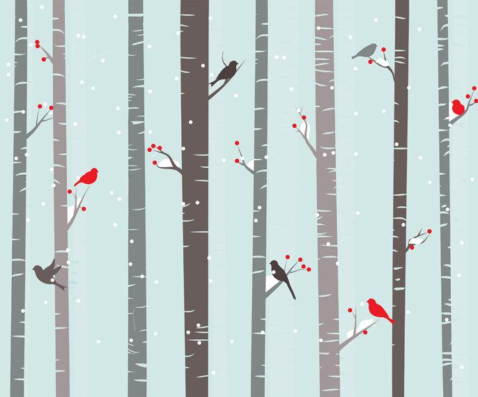 Birch clipart woodland tree Winter seasonal clip birch Birch