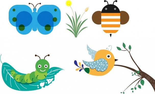 Bird clipart bee Worm bee for cartoon Free