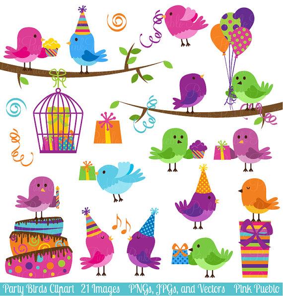 Birthday clipart bird Vectors Clip Celebration Clip Party