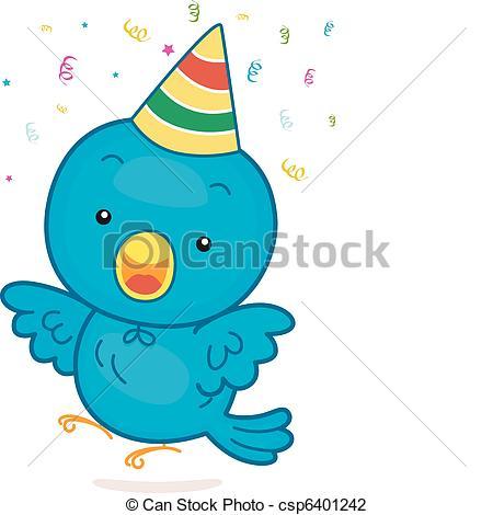 Birthday clipart bird  a of Illustration csp6401242