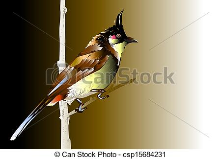 Bird clipart bulbul Drawings of trees red csp15684231