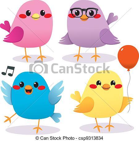 Bird clipart four Party Bird and Four Vector