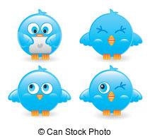 Bird clipart four Birds blue Cute illustration of