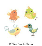 Bird clipart four Small Cute four set Search