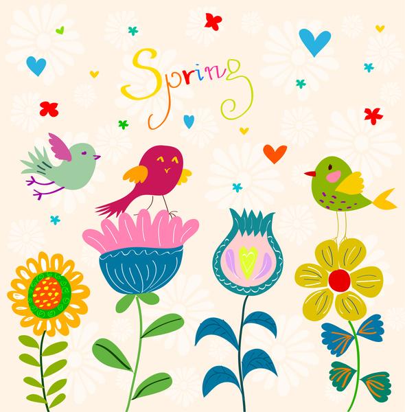 Bird clipart spring flower Flowers Adobe birds vector Spring
