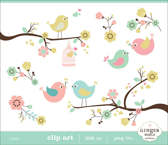Bird clipart spring flower Art clip GingerWorld for Flower