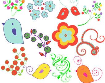 Bird clipart spring flower Use Commercial illustrations Spring Bird