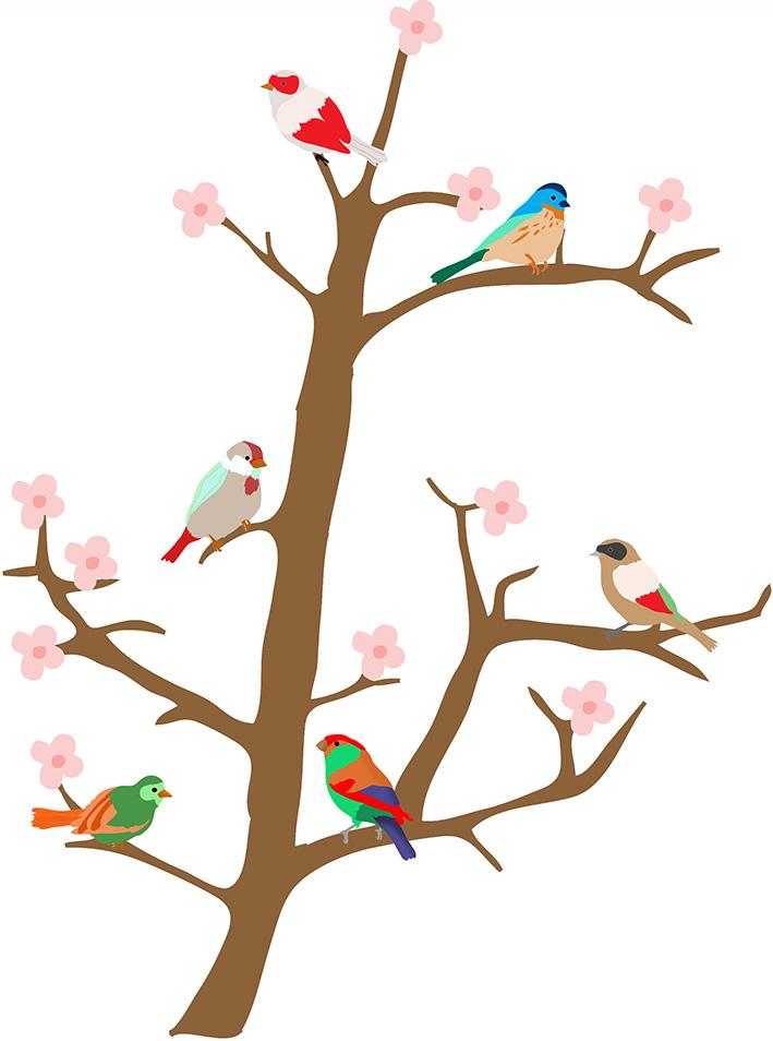 Bird clipart spring flower Spring branch Flower Clipart Spring