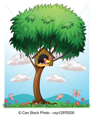 Brds clipart tree house Vector Clipart bird house a