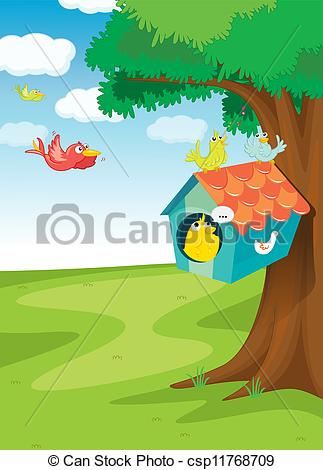 Bird clipart woodpecker House tree Vector on Clipart