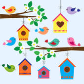 Bird House clipart animal home In spring GoGraph · Birdhouse