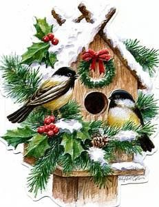 Bird House clipart christmas Retro Bird christmas hiver saison