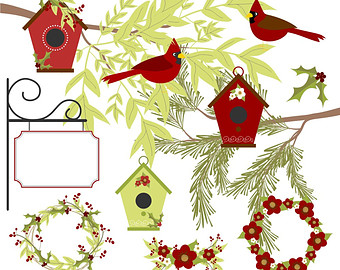 Bird House clipart christmas Cardinal 80% Clipart Etsy Winter