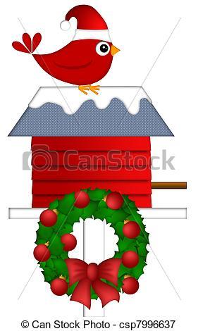 Bird House clipart christmas Stock Christmas Illustrations on Sitting