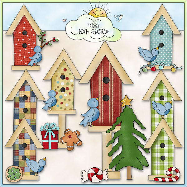 Bird House clipart christmas Art NE Birdhouses Christmas :