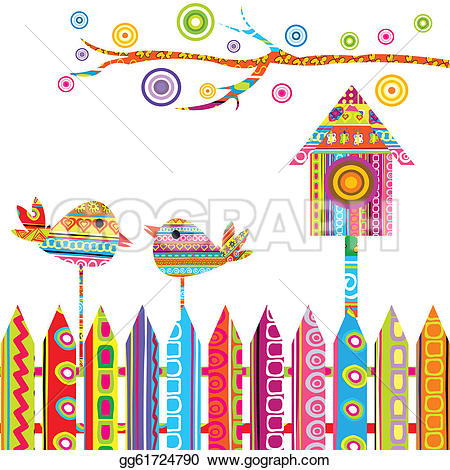 Bird House clipart fence Vector on with a and