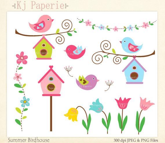 Bird House clipart scrapbook Art flowers clip Flowers Clip