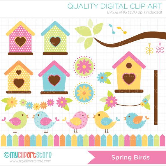 Bird clipart spring bird / Download) Digital House Art